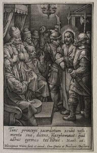 The Passion: Christ before the High Priest. Creator: Hieronymus Wierix (Flemish, 1553-1619)