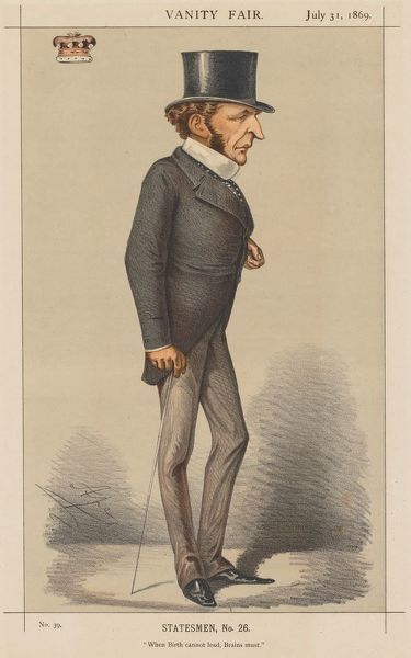 Vanity Fair: Statesman No. 26 'When Birth cannot lead, Brains must.', 1869