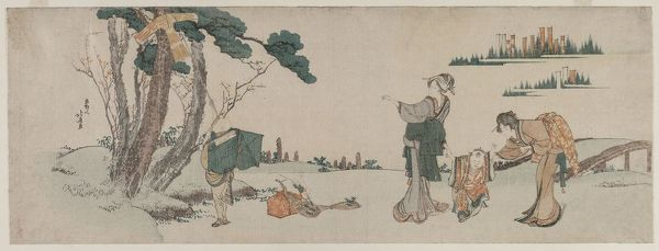 Women Distracting a Child whose Kite is caught in a Tree, c. 1800. Creator: Katsushika Hokusai