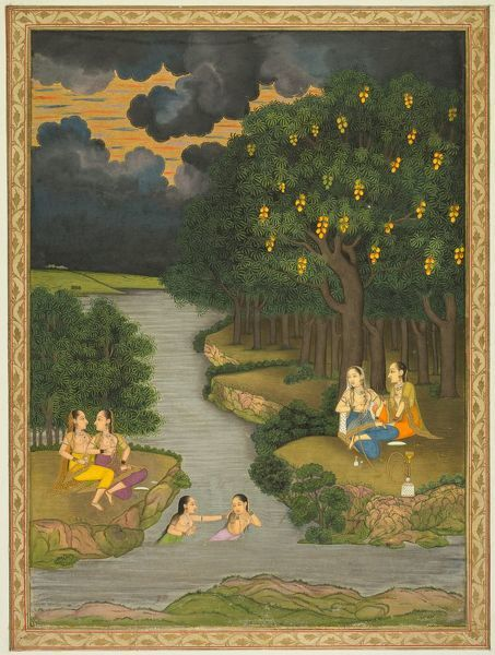 Women Enjoying the River at the Forest's Edge, c. 1765. Creator: Hunhar II (Indian