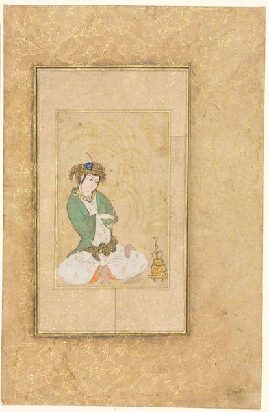 Youth Seated by a Willow; Single Page Illustration, c. 1600-1650. Creator: Muhammad Yusuf