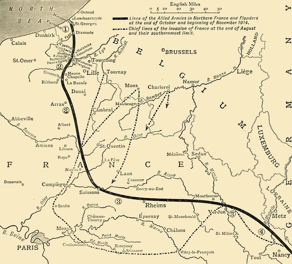 "The Allied Armies in France and Flanders, First World War, 1914, (c1920). 'Sketch Map showing the Lines of the Allied Armies in Northern France at the end of October and beginning of November, 1914'. From ""The Great World War - A History"" Volume II"