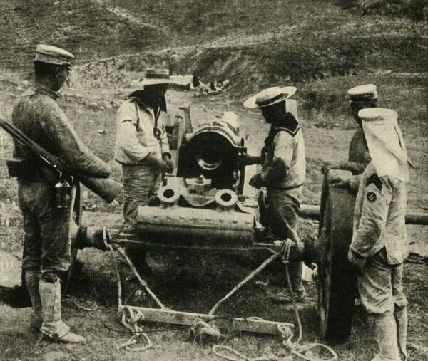 "'Our Allies in the Far East: Japanese Sailors getting Naval Guns into position for shelling a distant Fort', 1914-1918, (c1920). Scene from the First World War. From ""The Great World War - A History"" Volume I, edited by Frank A Mumby"