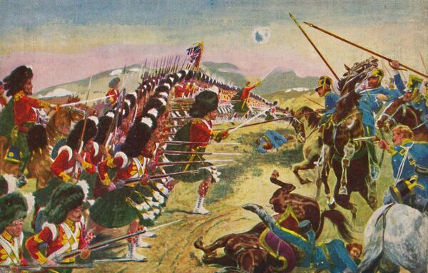 'The Argyll & Sutherland Highlanders. The Thin Red Line at Balaclava', 1854, (1939). The Thin Red Line was a military action by the British Sutherland Highlanders 93rd (Highland) Regiment at the Battle of Balaklava on 25 October 1854, during the Crimean War