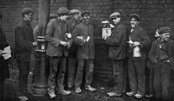 Balloting for the coal strike, Wheatsheaf Colliery, Pendlebury, near Manchester, January 1912, (c1920). Illustration from Story of the British Nation, Volume IV, by Walter Hutchinson, (London, c1920s)