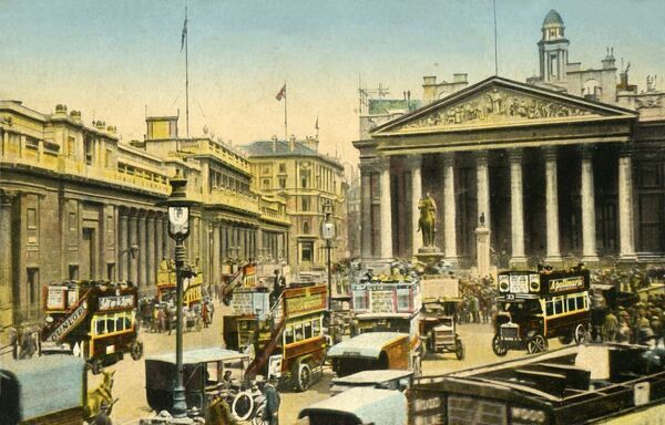 The Bank of England and Royal Exchange, London, c1910. The Royal Exchange building was opened in 1844. Postcard