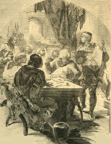 'At a Banquet given by Harold, he receives the News of the Invasion of the Normans', c1890. Harold Godwinson (c1022-1066) recieves news of the Norman invasion led by William of Normandy at a feast following the battle of Stamford Bridge
