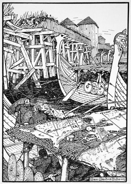 The Battle of London Bridge, 1014 (1913). The Saxon bridge was pulled down in 1014 by the Norwegian prince Olaf, who was aiding King Aethelred in regaining London from the Danes. The episode is said to have inspired the nursery rhyme London Bridge is Falling Down