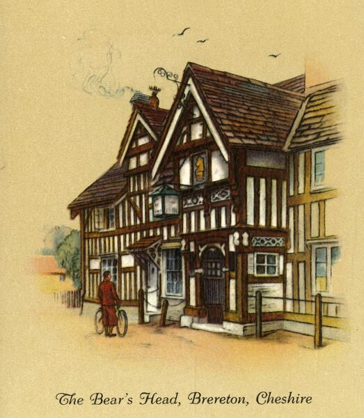 "'The Bear's Head, Brereton, Cheshire', 1936. The Bear's Head, a Jacobean coaching inn on the London to Liverpool road, dating from 1625, Grade II listed. From ""Old Inns - A Series of 40"", 1936. [W. D. & H. O. Wills, 1936]"