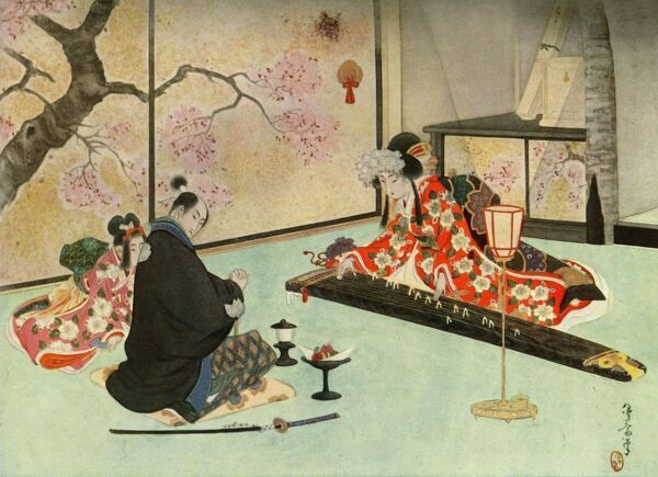 'His beautiful hostess, seating herself beside the koto, began to sing a wild and beautiful air', 1919. 'Strange and wonderful to relate, the song was none other than the self-same poem which Shunko had composed that very evening
