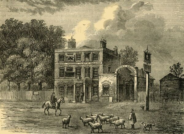 "'The ""Bell"" at Edmonton', c1876. The Bell Inn on Fore Street known by William Cowper's 1782 ballad, 'The Diverting History of John Gilpin' was rebuilt in 1878. From ""Old and New London: A Narrative of Its History, Its People, and Its Places"