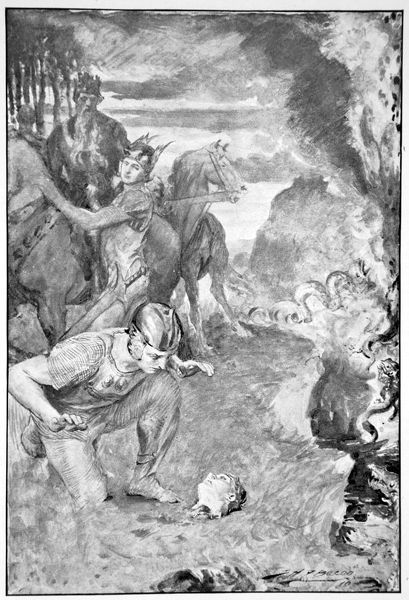 'Beowulf finds the head of Aschere', 1910. Aschere is Hrothgar's most trusted warrior who is killed by the monster Grendel's mother. A print from Hero Myths and Legends of the British Race by MI Ebbutt, 1910