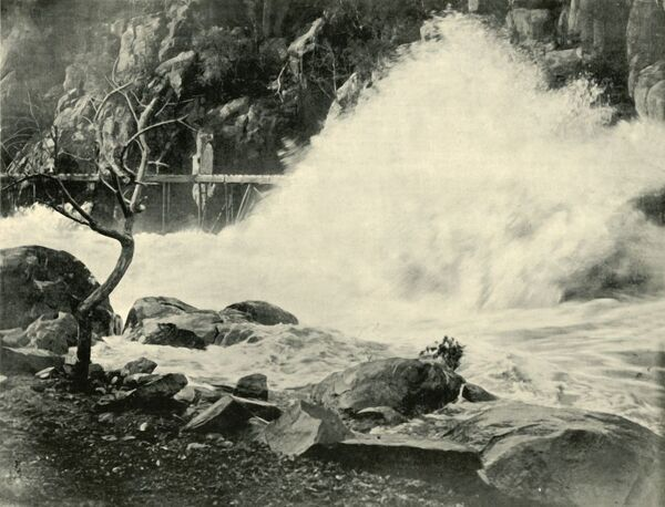 "'A Big Wave in the Cataract Gorge, near Launceston', 1901.The earliest known European to Cataract iver gorge on the South Esk River in Launceston, Tasmania, was William Collins, who discovered its entrance in 1804. From ""Federated Australia&quot"