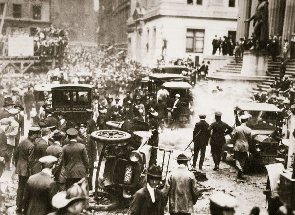 Bomb blast opposite the offices of JP Morgan & Co, New York, USA, 16 September, 1920. At 12.01 pm on 16 September 1920, a bomb concealed in a horse-drawn wagon was detonated on a crowded Wall Street. The explosion killed 38 people and injured 400 more