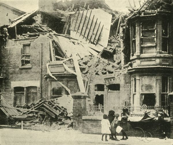 "Bomb-damaged houses, Hartlepool, First World War, December 1914, (c1920). 'German Warfare on the British East Coast: how many of the houses suffered in Hartlepool on December 16, 1914'. From ""The Great World War - A History"" Volume II, edited by Frank A Mumby"
