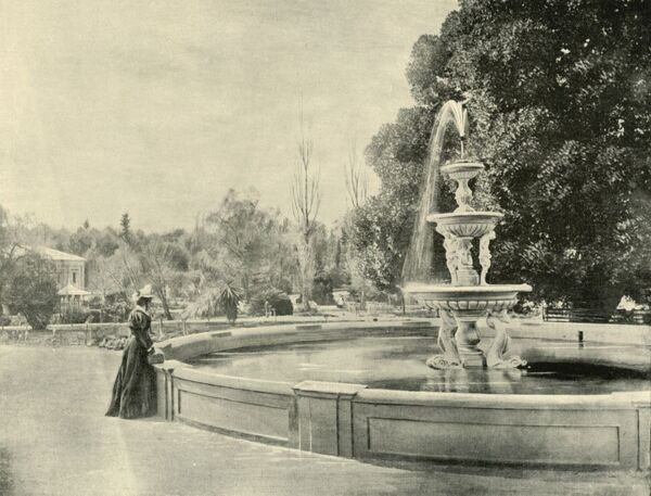 "'In the Botanic Gardens, Adelaide', 1901. Public garden in Adelaide city centre, officially opened in 1857. From ""Federated Australia"". [The Werner Company, London, 1901]"