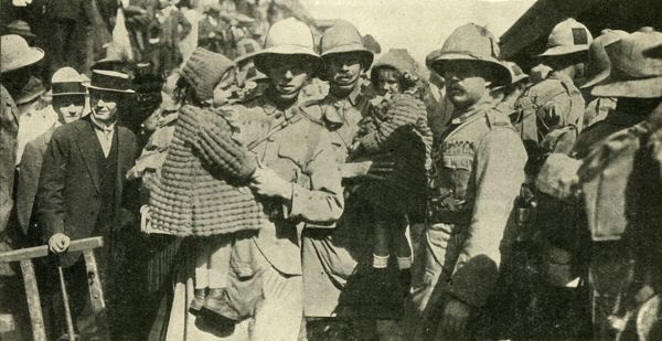 "British colonial forces at Johannesburg, South Africa, First World War, 1914, (c1920). 'The Call to Arms in South Africa: Johannesburg volunteers leaving for the Front'. From ""The Great World War - A History"" Volume I, edited by Frank A Mumby"