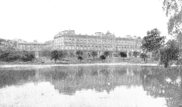 'Buckingham Palace at the time of Victoria', (1901). View of Buckingham Palace in London, viewed across an ornamental lake during the reign of Queen Victoria (1837-1901). Acquired by George III in 1761 for his wife, Queen Charlotte