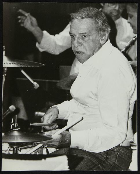 Buddy Rich playing the drums at the Royal Festival Hall, London, June 1985