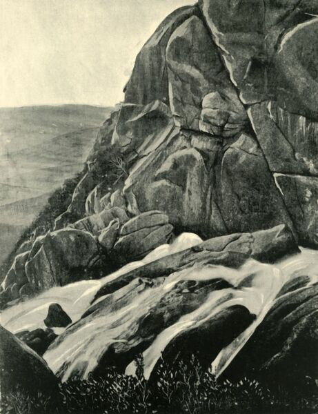 'The Buffalo Falls', 1901. Ladies Bath Falls, Mount Buffalo National Park, Victoria, was a popular secluded ridge and stopping place for ladies in the late 19th century as they travelled up Mount Buffalo, named by Hume and Hovell