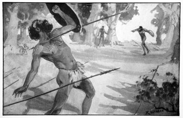 'Byama threw a spear with all his strength', 1923. The Legend of the Sacred Bullroarer; Thoorkook fighting Byama. Thoorkook is an evil character who killed Byama's sons. Byama takes revenge by plunging a spear into Thoorkook's neck and turning him into a bird of darkness