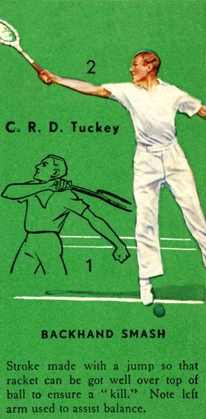 'C. R. D. Tuckey - Backhand Smash', c1935. From Tennis - An Album of Famous Players in Action, by Gordon R. WeddellGordon R. Weddell. [John Player & Sons,, c1935]