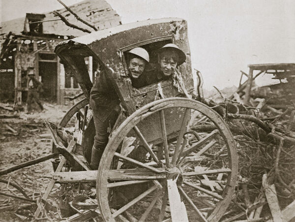 'Cab, sir!' Found in a captured village', France, World War I, 1916. During the Battle of the Somme
