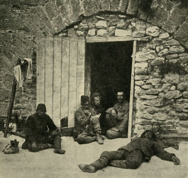 'After the Capture of Sedd-el-Bahr: Turkish prisoners in the courtyard in the fortress', First World War, 1915, (c1920). Sedd el Bahr Kale, a strategic castle on the Gallipoli peninsula in Turkey, was heavily bombarded by the British in 1915