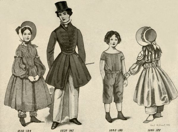 "'Children's clothing from 1830-1850', 1907, (1937). From ""History of American Costume - Book One 1607-1800"", by Elisabeth McClellan. [Tudor Publishing Company, New York, 1937]"