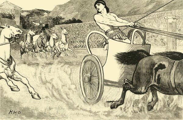 "'Clisthenes at the Olympic Games', 1890. Cleisthenes also Clisthenes or Kleisthenes, tyrant of Sicyon from c600-560 BC, won the Olympics as a chariot racer. From ""Cassell's Illustrated Universal History, Vol. I - Early and Greek History"""
