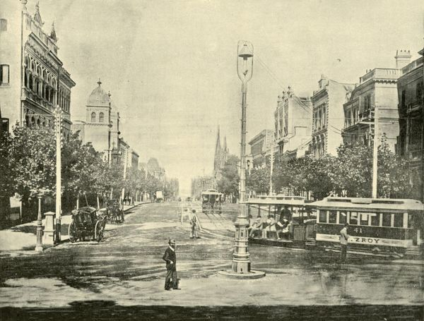 'Collins Street, Melbourne, from the Treasury Buildings', 1901. Collins Street, named after Lieutenant-Governor of Tasmania David Collins who led a group of settlers in establishing a short-lived settlement at Sorrento in 1803