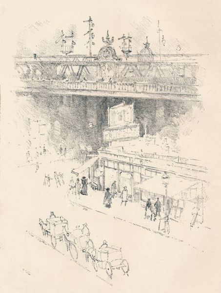 'Corner of Villiers Street, Charing Cross', 1896. Street scene near Charing Cross Station in London. From The Magazine of Art. [Cassell & Company, London, Paris & Melbourne, 1896]