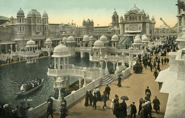 Court of Honour, Coronation Exhibition, London, 1911. Mughal style buildings. The Coronation Exhibition, at White City in west London, was held to celebrate the coronation of King George V and Mary of Teck on 22 June 1911. Postcard