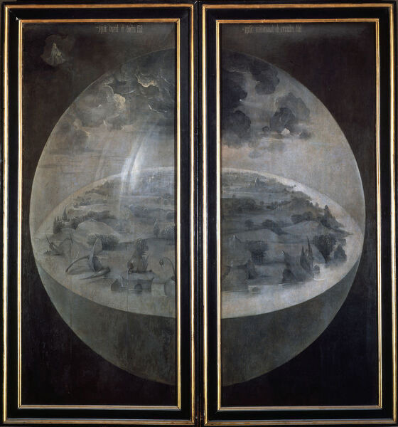 'The Creation of the World', closed doors of the triptych 'The Garden of Earthly Delights', c1500. Found in the collection of the Prado, Madrid, Spain
