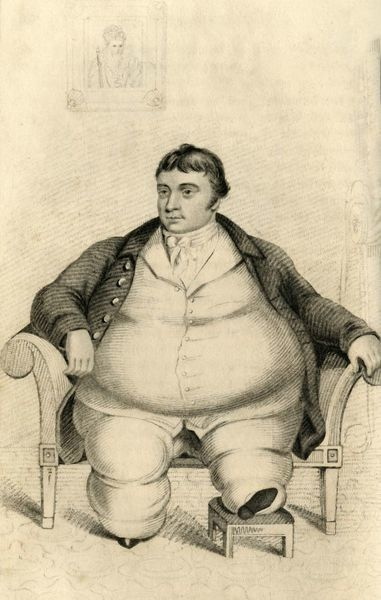 'Daniel Lambert, of Surprising Corpulency', 1821. Portrait of Daniel (1770-1809), keeper of Leicester gaol. In 1805, Lambert weighed 50 stone (320 kg), at the time the heaviest authenticated person in recorded history. After the gaol closed