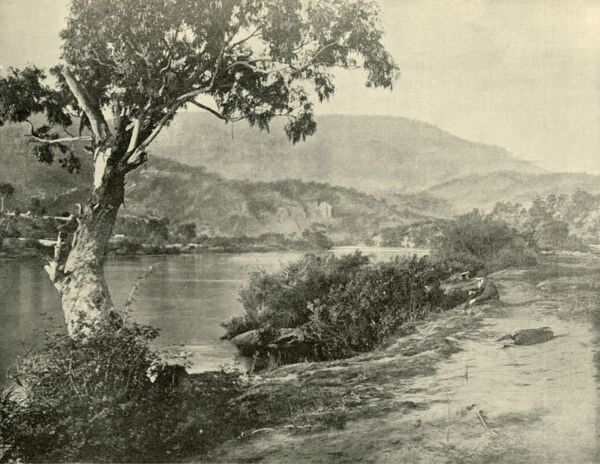 "'The Derwent at New Norfolk', 1901. New Norfolk town on the Derwent River, in south-east Tasmania, settled from November 1807 to October 1808 by farming families who received land grants for relocation. From ""Federated Australia"""