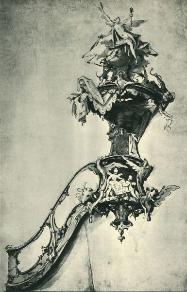 "Design for a pulpit, mid-late 18th century, (1943). Drawing in the Germanisches Nationalmuseum, Nuremberg, Germany. From ""Europaische Handzeichnungen"", (Five Hundred Years of European Drawings), by Bernhard Degenhart. [Atlantis-Verlag Berlin"