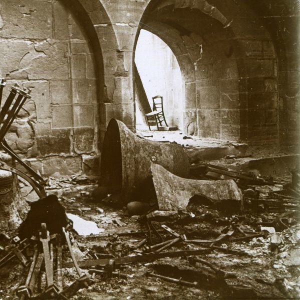Destroyed church, Marne, northern France, c1914. Artist: Unknown