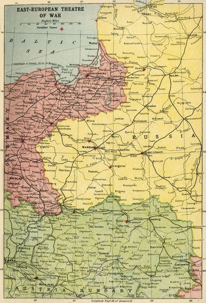 "'East-European Theatre of War', 1914-1918, (c1920). Map of Eastern Europe during the First World War, showing parts of Germany, Russia and Austria-Hungary. From ""The Great World War - A History"" Volume I, edited by Frank A Mumby"