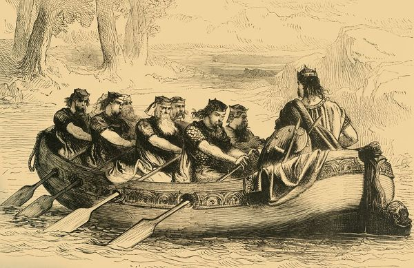'Edgar the Pacific being rowed down the River Dee by Eight Tributary Princes', c1890. Edgar the Peaceful ( c943-975). Legend has it, following his coronation, eight kings including Kenneth II of Scotland and Mael Coluim, King of Strathclyde pledged allegiance