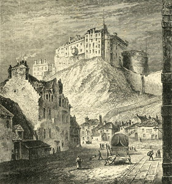 "'Edinburgh Castle, from the King's Mews, 1825', (1890). Edinburgh Castle on Castle Rock, dominates the skyline of Edinburgh, there have been 26 sieges in its 1100-year-old history. From ""Cassell's Illustrated Universal History, Vol"