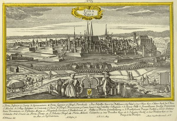 "Eger, c1740. The city of Eger in Hungary (Egra in Latin), with the river, churches, castles, and principal landmarks indicated. From ""Europaische Stadteansichten"" by Martin Engelbrecht. [Augsburg, c1740]"