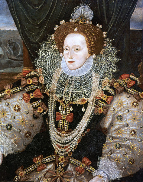 Elizabeth I, Queen of England and Ireland, c1588. Version of the Armada portrait attributed to George Gower. The last Tudor monarch, Elizabeth I (1533-1603) ruled from 1558 until 1603. From the National Portrait Gallery