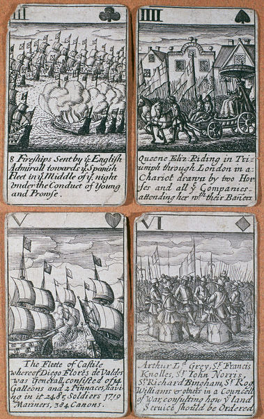 English playing cards commemorating defeat of the Spanish Armada (8 August 1588). Artist: Unknown