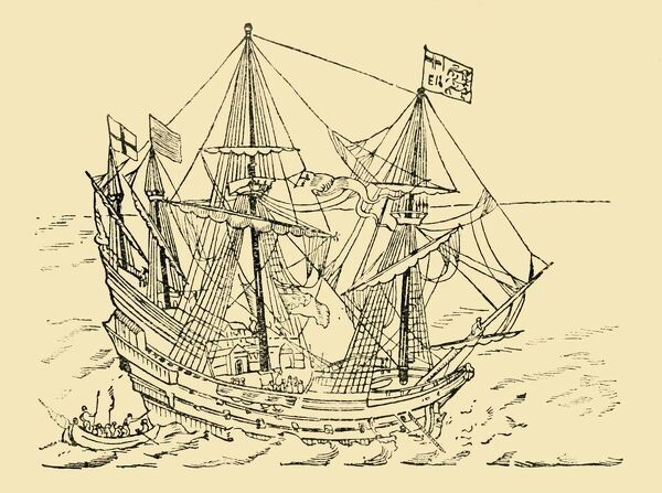 "'An English Ship in the Armada Fight', c1930. 16th-century galleon in the English naval fleet which defeated the Spanish Armada in 1588. 'From a tapestry woven in commemoration of the great victory'. From ""The World's Story, a Simple History for Boys"