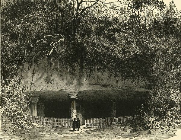 'Entrance of Cave at Elephanta (Bombay Presidency)', 1890. Five hindu caves dating to 2nd century and predominantly dedicated to the Hindu god Shiva. The Elephanta Caves were mostle likely completed by 550. Listed as a UNESCO World Heritage Site