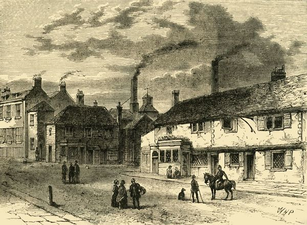 'Entrance to Chiswick', (c1878). Street scene with smoking chimneys in the village of Chiswick, (now part of greater London). From Old and New London: A Narrative of Its History, Its People, And Its Places. The Southern Suburbs, Volume VI, by Edward Walford