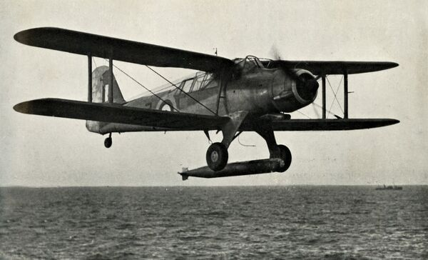 "'The Fairey Albacore', 1941. British single-engine torpedo bomber built by Fairey Aviation, used during the Second World War. From ""The Royal Air Force in Pictures"", 2nd edition, by World War I flying ace Major Oliver Stewart"