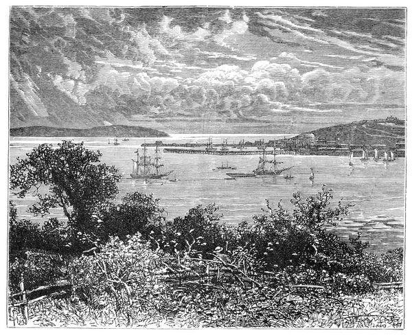Falmouth Harbour, Cornwall, England, 1900. Famous for its harbour and Carrick Roads, it forms the third largest natural harbour in the world. Illustration from The life and times of Queen Victoria, by Robert Wilson, (1900)