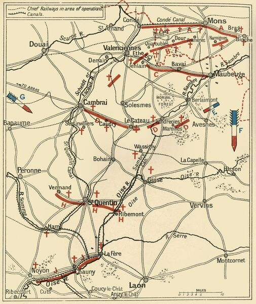 "'The First Phase of the Great Retreat: Plan Showing the British Positions from August 23 to August 28, 1914', (c1920). Map of northern France and Belgium, showing battle lines during the First World War. From ""The Great World War - A History"" Volume I"
